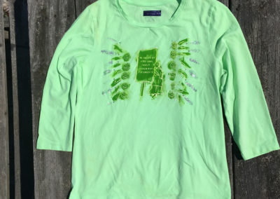 green top with 3/4 sleeves, size medium